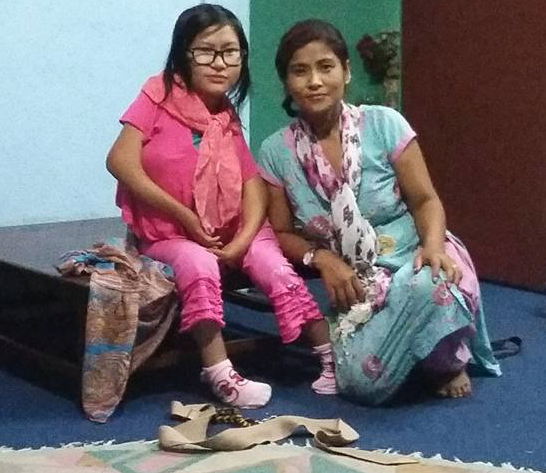 Laxmi with her mum